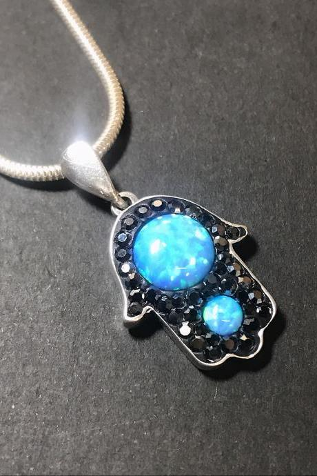 Hamsa - blue opal and hematite - silver 925 pendant for men/women - exclusive-luck