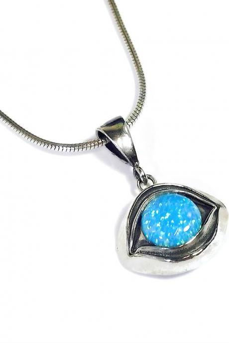 Eye pendant with blue opal - silver 925 pendant