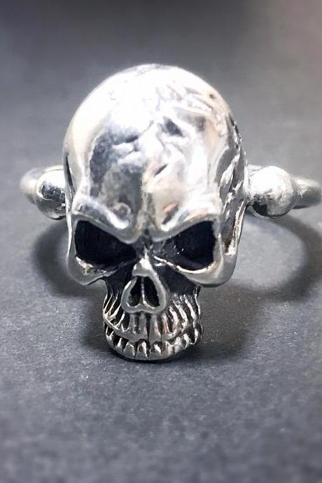Skull - silver 925 ring for men - free shipping