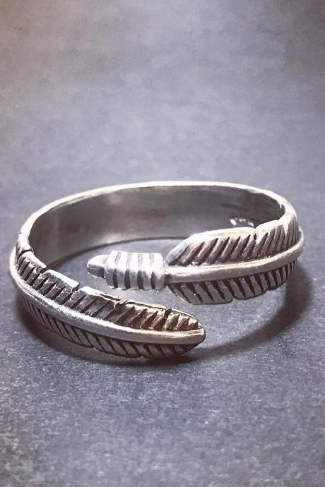 Feather - silver 925 ring for women/for men