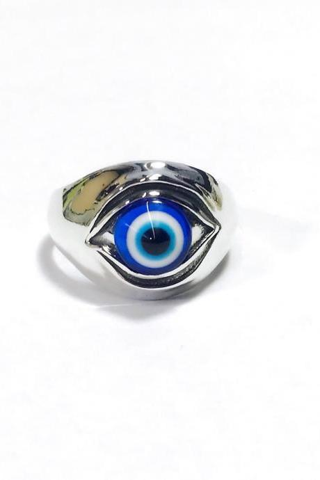 Evil eye - eye ring - silver 925 ring - blue eye - ring for woman