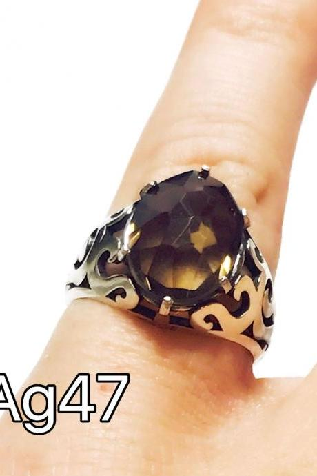 Smoke topaz - silver 925 ring