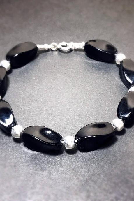 Black onyx - silver 925 bracelet for women