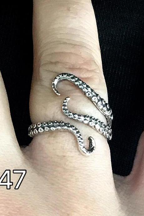 Octopus - Gothic open ring - silver 925 - Tentacles