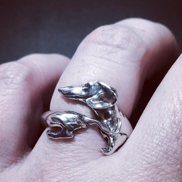 Dachshund - silver 925 ring - open ring - dog- unisex - perfect gift